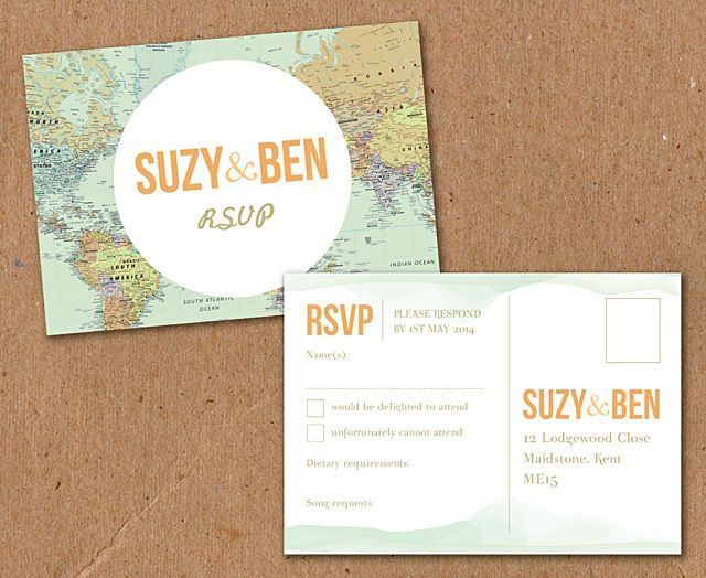 World Map Travel Atlas Themed Wedding Stationery From Ink
