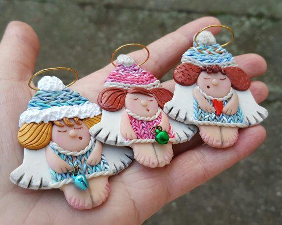 Fridge magnets refrigerator angels girls hand made by PolymerAnna