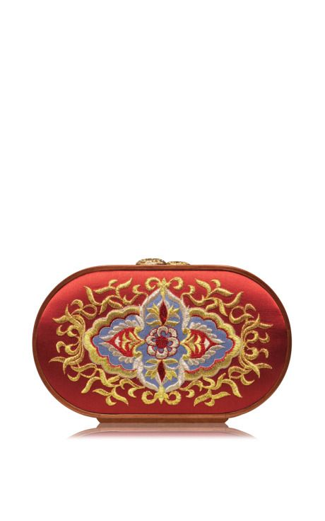 Russian Church Painting Embroidered Oval Bag In Strawberry Red by Katrin Langer for Preorder on Moda Operandi