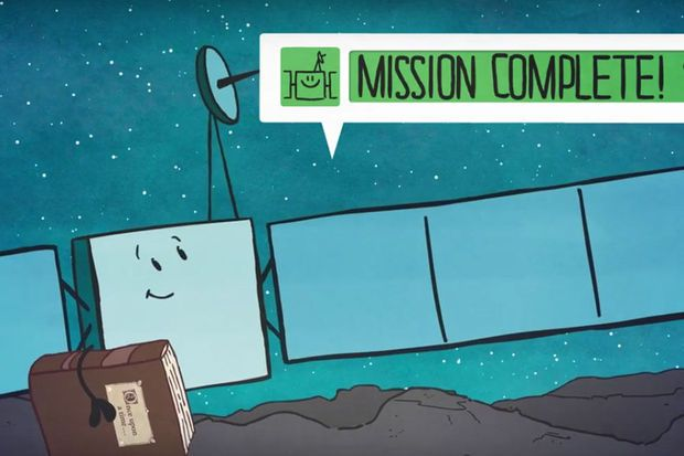 """""""Adieu chers amis"""": un petit dessin animé tout en douceur de l'Agence spatiale européenne a conclu vendredi le conte de fées spatial de Rosetta et Philae qui a permis d'intéresser un large public à cette mission scientifique."""