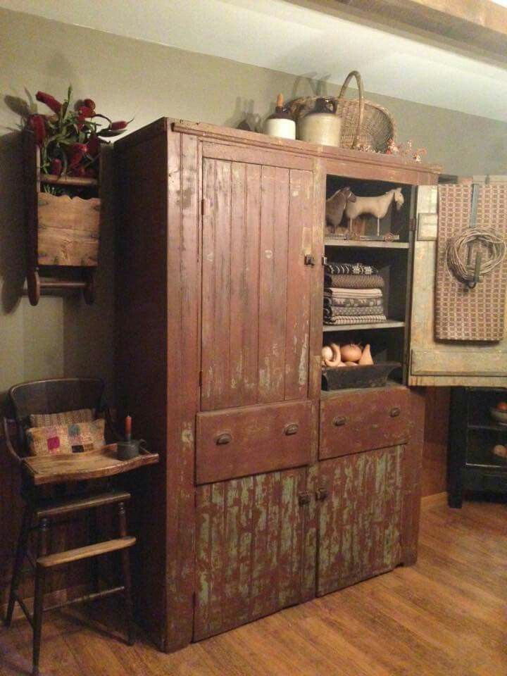 Primitive Cupboard.. Primitive CabinetsPrimitive KitchenPrimitive  FurnitureCountry ...