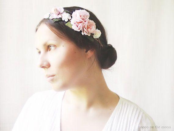 Flower Crown, Floral Crown, Pink Flowers, Rose Wreath, Flower Headband, Woodland Hair Accessories, Rustic Roses, Outdoor Wedding on Etsy, 40,70€