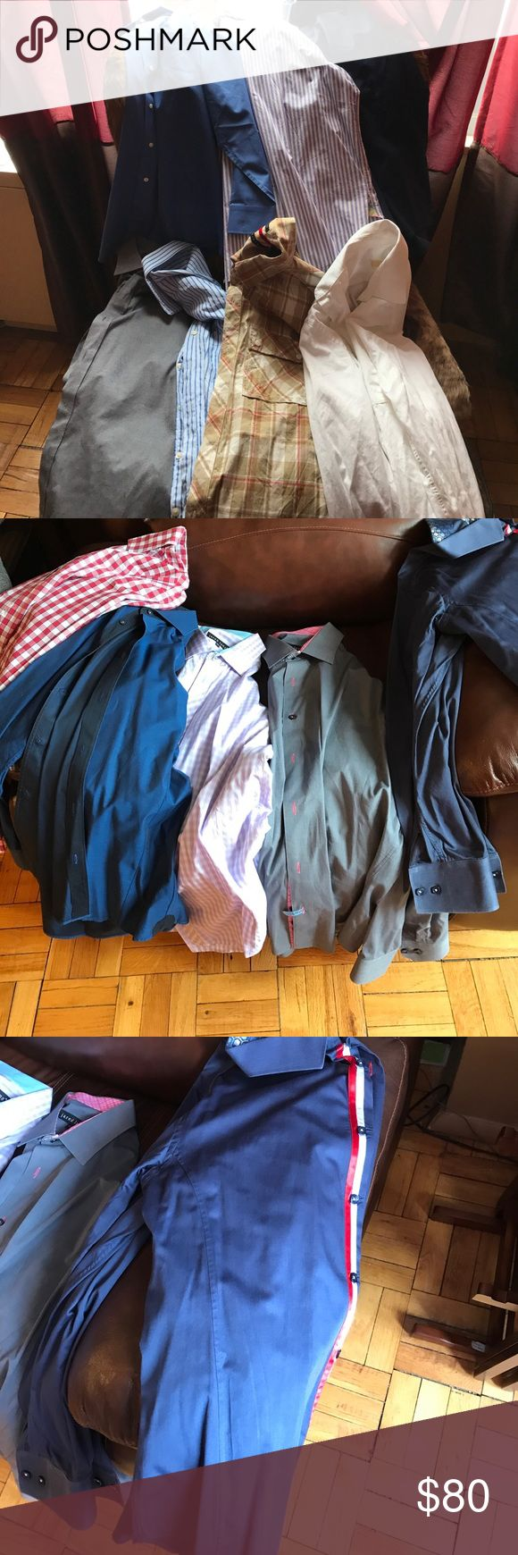 Bundle of 6 men shirts Shirts all in new or good condition. Large to X large. Jared Lang, Jos.A Bank, Michael Kors,Tailored Fit,Paul Fredrick,Simbasante, individual will sell for more and purple stripe is not apart of bundle Shirts Casual Button Down Shirts