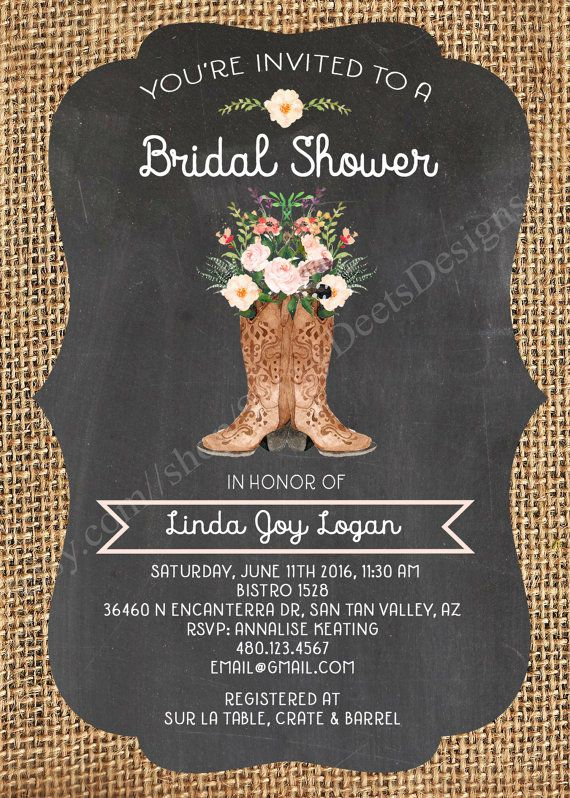 This water color boot bouquet bridal shower invitation is perfect for the bride-to-be who loves rustic chic boots and flowers, with burlap and chalkboard