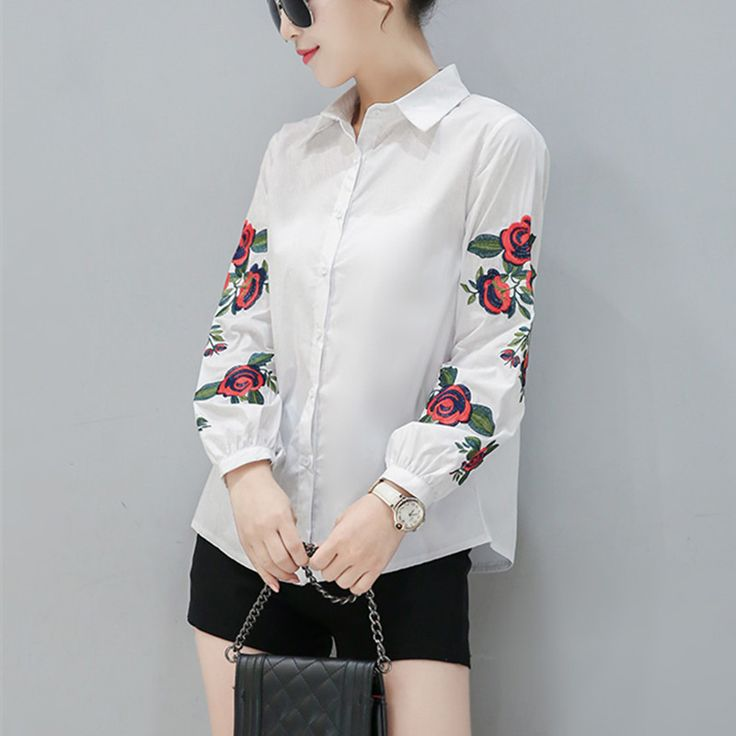 2017 New Spring Women Long Sleeve Blouse Rose Floral Embroidery Work Shirts Women Office White Tops Ladies Blue Striped Blouses
