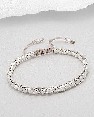 Cream Friendship Bracelet with Sterling Silver by SunshineNShowers, £18.00