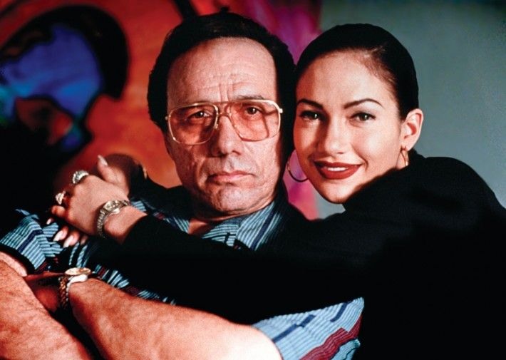 Edward James Olmos (Abraham Quintanilla) and Jennifer Lopez (Selena Quintanilla)