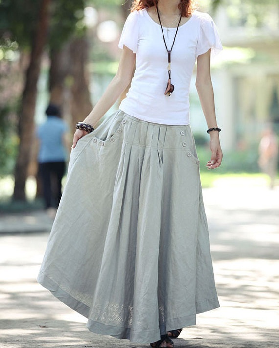 linen skirt buttons pleats pockets