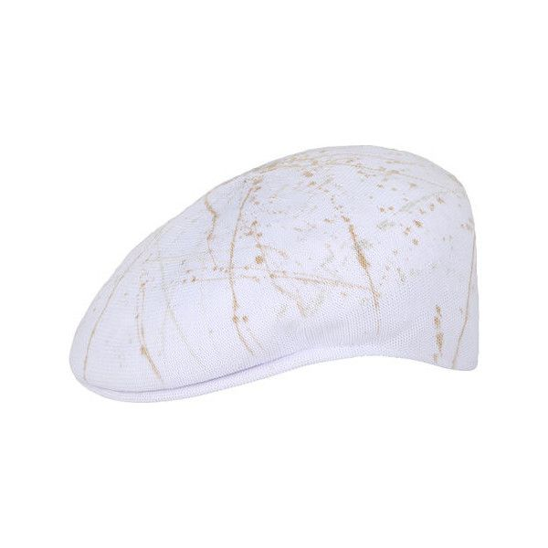 Kangol Spray Tropic 504 Flat Cap ($43) ❤ liked on Polyvore featuring accessories, hats, white, newsboy hat, kangol caps, flat cap, newsboy caps and sports cap