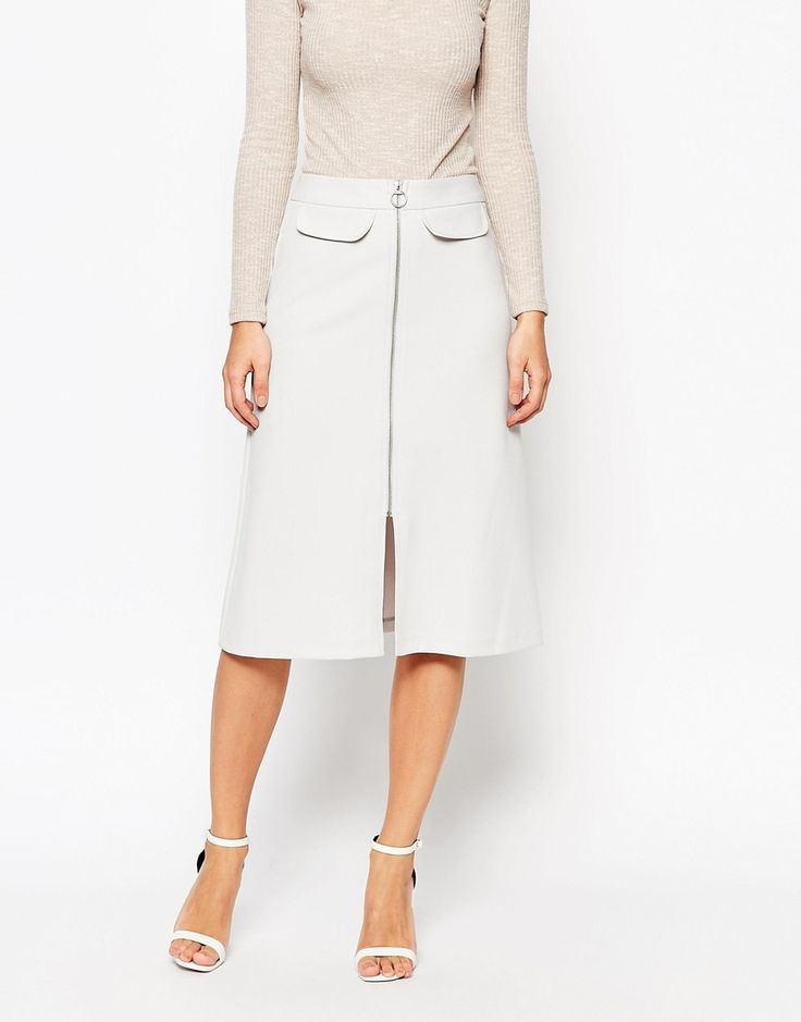 Image 4 of ASOS PETITE A-line Midi Skirt with Zip and Pocket Detail