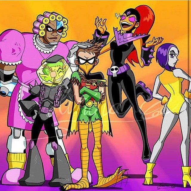 """I frickin' LOVE this picture ^_^ Credit to the fabulous artist who did it. Titans dressed up as their counterparts from Teen Titans Go episodes:Cyborg: As Grandma, Grandma Cyborg (ep.""""Grandma Voice"""")Robin: As a bird, Bird Robin (ep.""""Super Robin"""")Starfire: As Starfire the Terrible (ep.""""Starfire the Terrible"""")Raven: As Lady Legasus (ep.""""Legs"""")Beast Boy: As Scar Man (ep.""""Man Person"""")Don't I know my TTG or what? XD Follow @melaninprincess"""