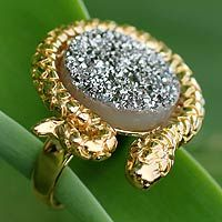 Handmade jewelry ideas - Gold and Rhodium Plated Agate Cocktail Ring from Brazil