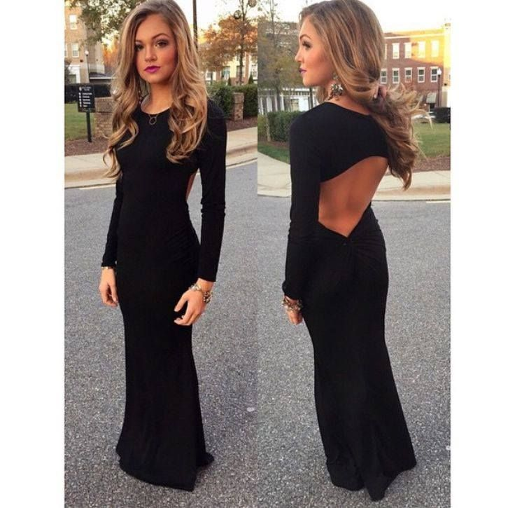 The Angie Open Back Long Sleeve Maxi Dress from Social Butterfly House is perfect for black tie or formal occasions like red carpet events, weddings, military ball, sorority formal, homecoming, and prom. The front is classic and chic while the back cutout makes the dress sexy and ready for any party.