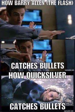 Haha! And here is just more proof that The Flash is faster than Quicksilver - Visit to grab an amazing super hero shirt now on sale!