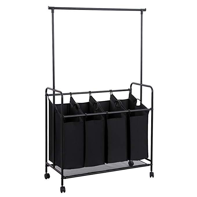 Songmics 4 Bag Rolling Laundry Sorter With Hanging Bar Heavy Duty With Wheels Larger Bags Black Urls44b Laundry Sorter Hanging Bar Laundry Cart Rolling laundry cart with hanging bar