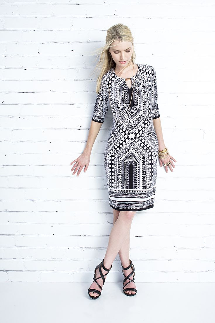 For the woman on the go. The tile print shift dress what works hard to make you look good. #monochrome #dresses #miladys #tileprint