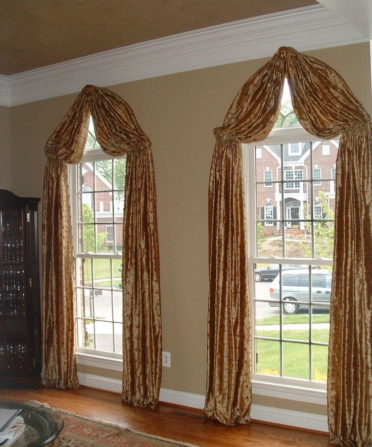 31 best images about curtains on pinterest balloon for Window treatment for oval window