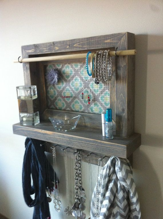 Jewelry organizer jewelry holder gray jewelry by TheWoodenOwl
