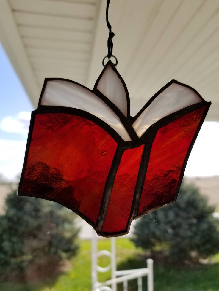 Book Stained Glass Ornament Christmas tree gift book lover