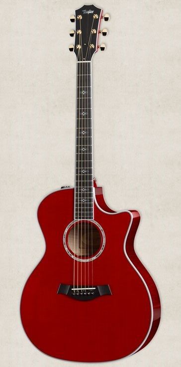 beautiful acoustic guitars taylor 718 red
