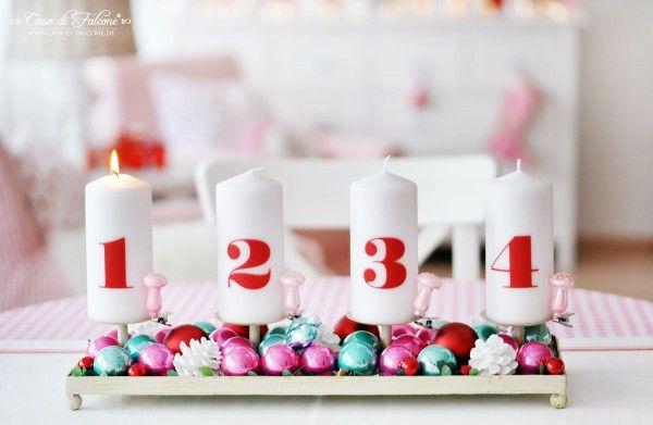 Weihnachtsdeko in rosa, rot, mint und weiss I Adventsdeko I Adventskranz I Weihnachten I christmas deco I Casa di Falcone