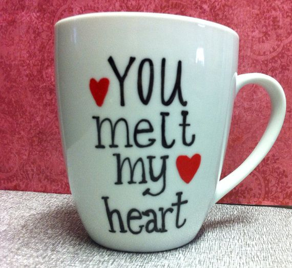 You Melt my Heart  Valentines Day Mug handpainted by PickMeCups, $18.00