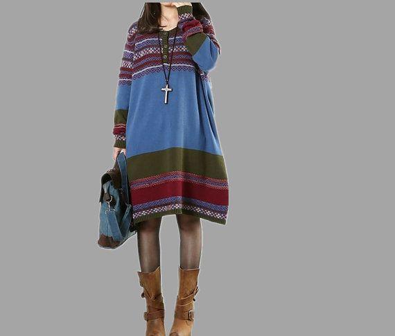 women cotton Sweater dress large size dress by cottondress23