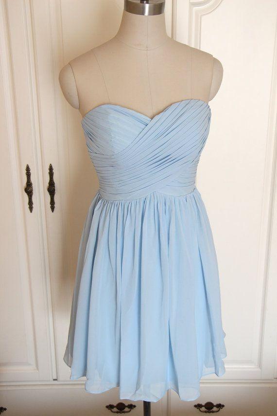 Light Blue Sweetheart Bridesmaid Dress Short Chiffon Blue Strapless Dress-Custom Dress