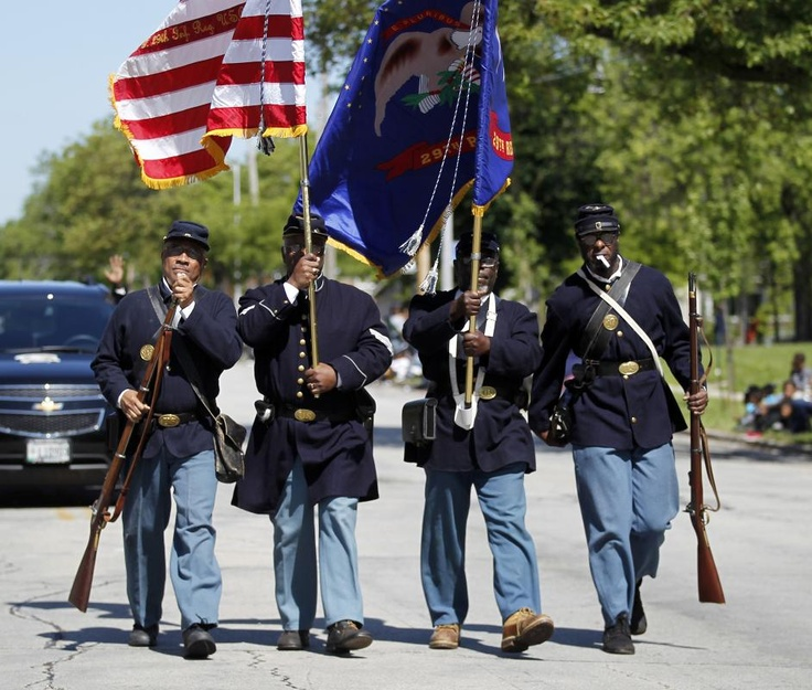From JSO  Photo Gallery:  Juneteenth Day celebration. Every year in Milwaukee on June 19th, the city recognizes Juneteenth Day. It became a State Holiday in 2010 in the state of Wisconsin. Pictured here is a replica of the 29th Infantry Regiment (the USCT) Company F. Which was Wisconsin's first African-American Civil War Troops.
