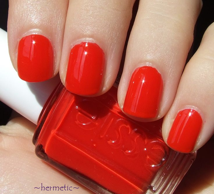 """Essie """"Geranium"""" My ABSOLUTE favorite red-orange. Makes you look tan, and adds the perfect pop of color."""