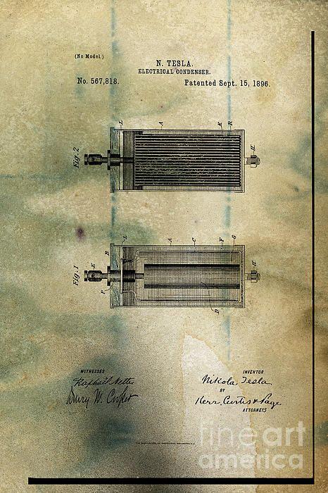 Nikola Tesla's Electrical Condenser Patent 1896 by Paulette B Wright