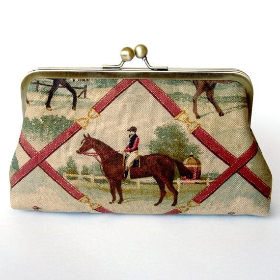 Kisslock Frame Clutch Silk Lined Jockey and Horse by FoxburyAndCo, $74.00