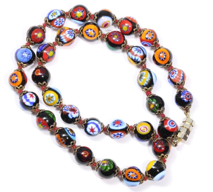 Vintage Hand Knotted Venetian Murano Black Millefiori Glass Bead Choker Necklace…