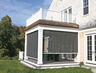 Retractable Porch Screens | Shade & Shutter Systems, Inc. | Exterior mounted Retractable Screen systems greatly reduce indoor air tempuratures, all while keeping the bugs out.