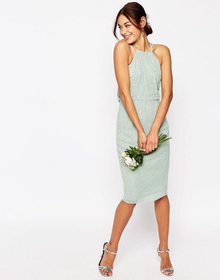 ASOS | ASOS WEDDING Embellished Cami Drape Back Midi Pencil Dress at ASOS