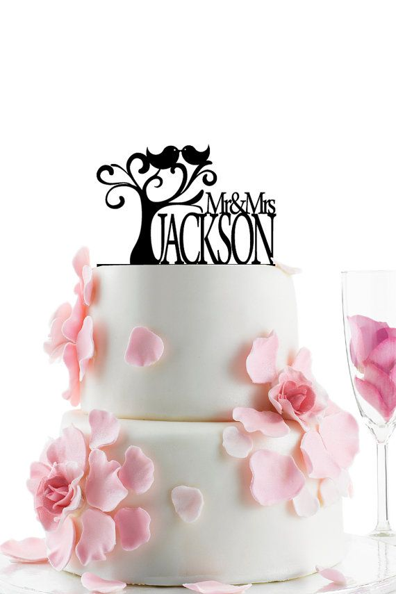 Custom Wedding Cake Topper - Personalized Monogram Cake Topper - Mr and Mrs -  Cake Decor -  Bride and Groom - Love Birds