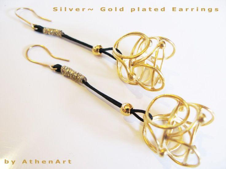 Σκουλαρίκια ~ Aσημένια~ Επίχρυσο ~Corona collection ~ασήμι 925 ~Silver gold long earrings | CforCrafts
