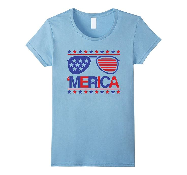 Merica Fourth of July Patriotic American Flag Sunglasses Tee
