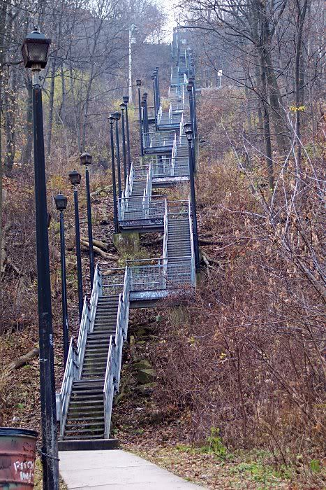 Wentworth Stairs- for climbing or descending  the Escarpment ( in Hamilton it's called The Mountain even though it's not a mountain). The Escarpment  in Hamilton (which divides the city) is approx. 100 meters ( 330 feet ) in height.