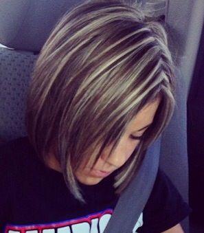 Dark brown hair with blonde highlights!