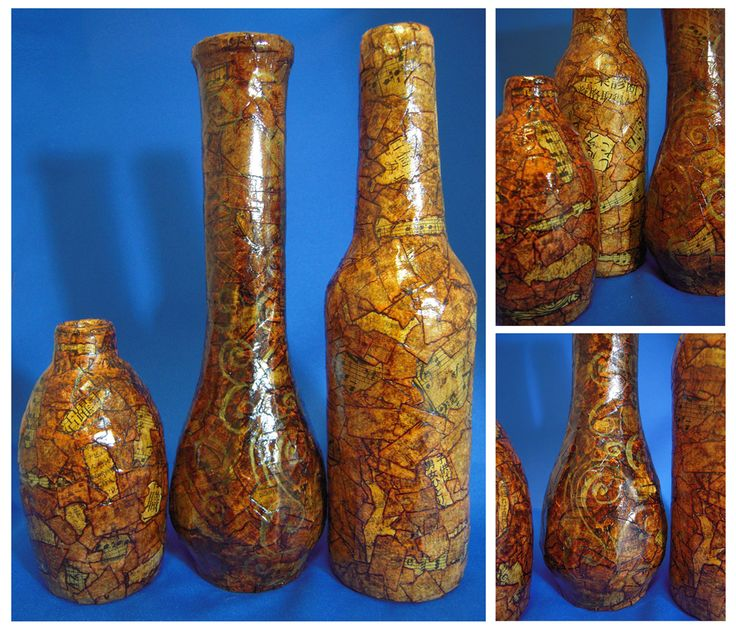 Old wine bottle, jar, vases.... Cover with masking tape and stain with shoe polish!  Looks like leather when it dries.  Did this as a kid.