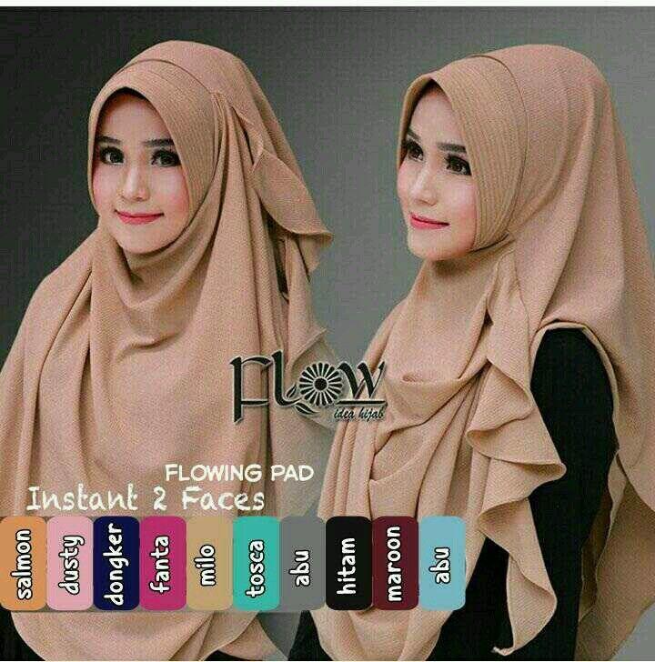 Jilbab Kerudung Instan Flowing Pad mempunyai keterangan produk Jilbab menggunakan Bahan crepe diamond Hijab beraplikasi rempel pinggir dan instan 2 face