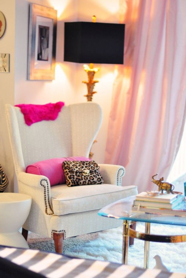 home office sitting area // glamorous // black gold pink