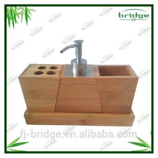2015 New Style Modern Design 4 Pcs Bamboo Bathroom Accessory / Bamboo Bathroom  Accessory Set