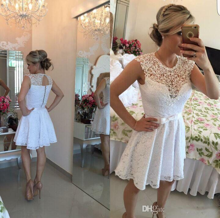 2017 Lace White Short Graduation Dresses Custom Scoop Sleeveless Formal Party Dresses Sash Bow vestidos para formatura