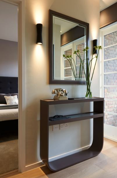 http://www.loveinteriors.co.uk/ #hallway bespoke console table and mirror #lovedetail
