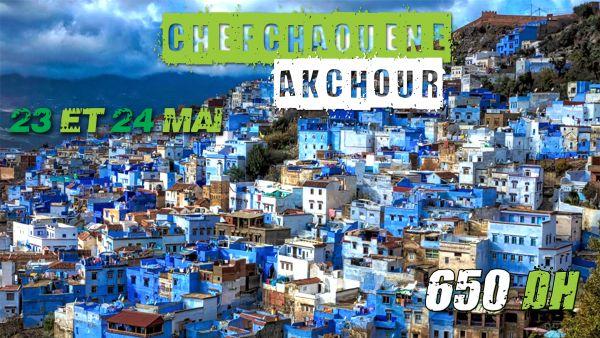 Voyage Organisé Week-end ( Chefchaouen – Akchour ) Le 23 et 24 Mai, 02 Jours / 01 Nuitée en Bed&Breakfast à l'Hôtel 4*. Maroc évasions