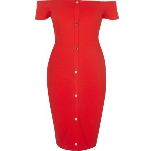 Checkout this Red bardot popper front dress from River Island