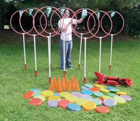 A challenging and fun activity for students and group play. Helps develop coordination, cooperation and confidence. Set up as a disc golf game, 9-hole course or target hoops. The 9 target outdoor set includes 9 each numbered targets (with 48_x001d_ center height), 36 each 95 gram discs, 9 each orange cones and 9 each steel ground sockets. Also includes a heavy-du...