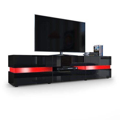 Best Flow Tv Stand Vladon Colour Black Matt Black Glossy 640 x 480
